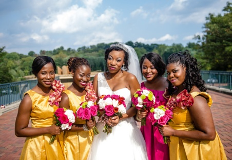 mustard and pink. Source: Munaluchi Bride